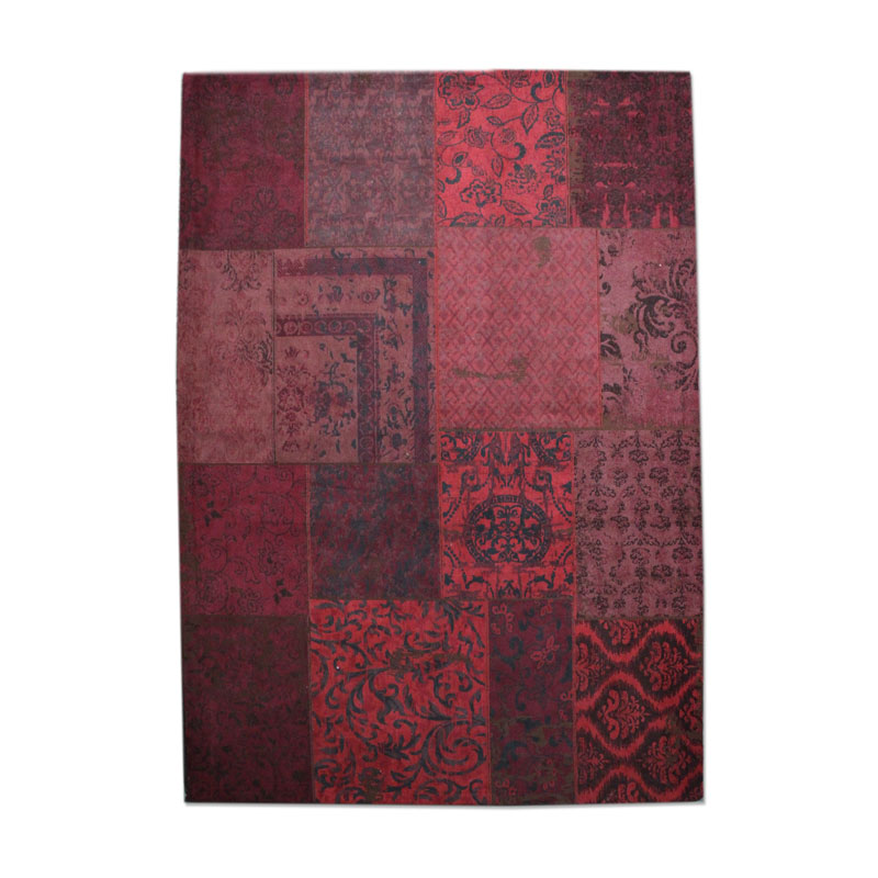 By-Boo Vloerkleed Patchwork Rood 300x200 Cm