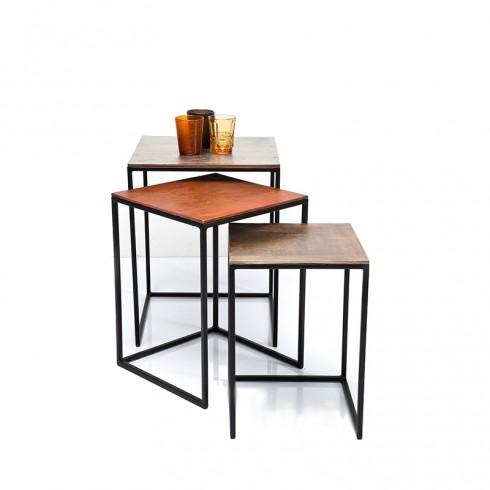 Kare Design Bijzettafel Set Square Vintage