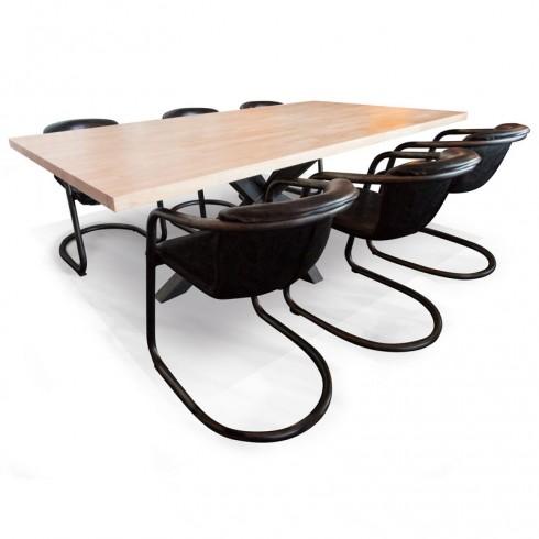 Industriële eettafelset met leren design stoelen