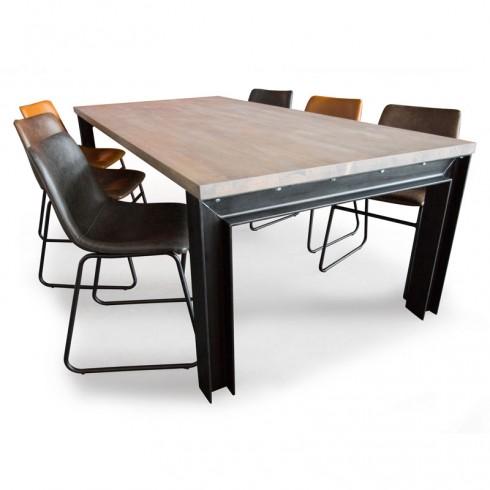 Industriële tafel met Rubberwood tafelblad en balkstalen onderstel inclusief ByBoo Logan leren stoelen