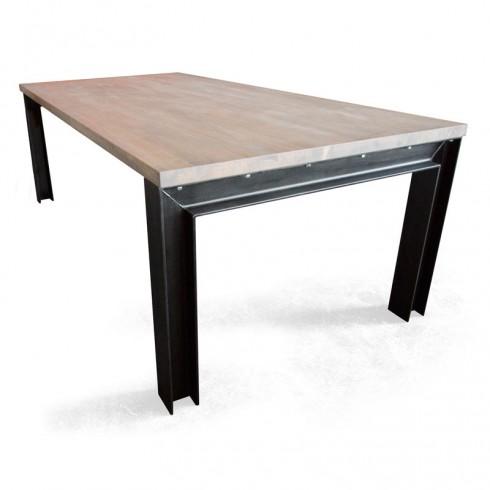 Industriële tafel met Rubberwood tafelblad en balkstalen onderstel