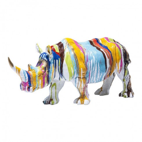 Kare Design Deco gekleurd neushoorn beeldje 26cm