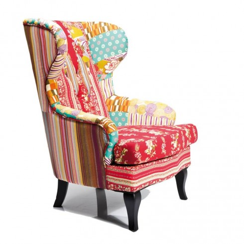 Kare Design Patchwork Hippie Fauteuil / Armstoel Rood