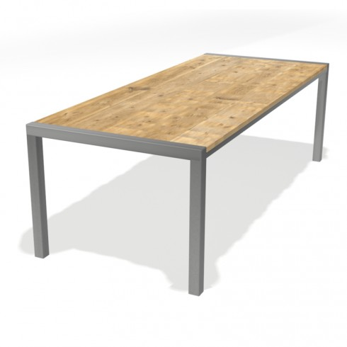 Eettafel 240 x100 cm RVS onderstel - Steigerhouten tafelblad