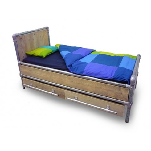 Van Abbevé Eenpersoons Steigerbuis Steigerhouten Bed