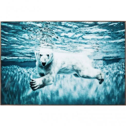 Zooff Picture Frame Alu Swimming Polar Bear 80x20cm