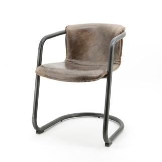 Leren Stoelen Met Armleuning.Industriele Vergadertafelset Met Leren Buizenframe Designstoelen
