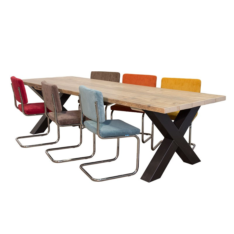 Eet Tafel Met 8 Stoelen.Van Abbeve Industriele Eettafel Met Kruispoot Retro Rib Stoelen