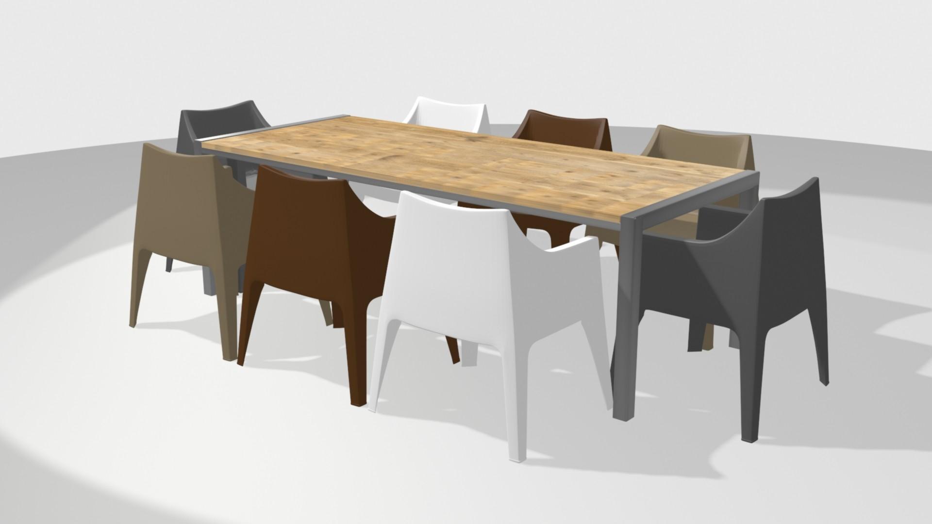 Rvs tafel 240 met 6 coccolona stoelen zooff.nl