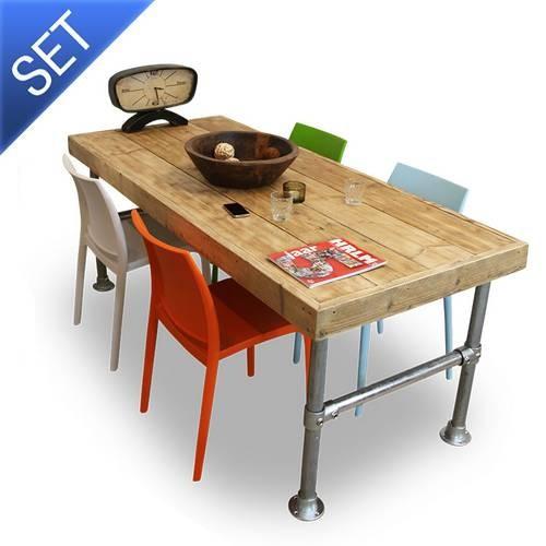 Van abbev tuinset met houten eettafel en design stoelen complete terrasset - Eettafel en houten eetkamer ...