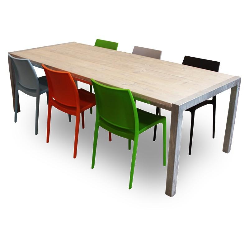 Design Tafel Met 6 Stoelen.Van Abbeve Steigerhouten Rvs Eettafel Met Design Tuinstoelen