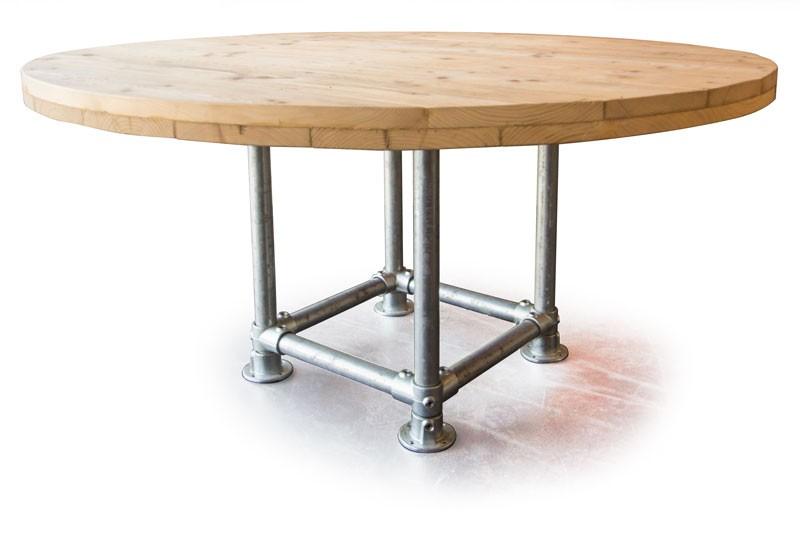 Handgemaakte ronde tafel met steigerbuis frame kantine kantoor
