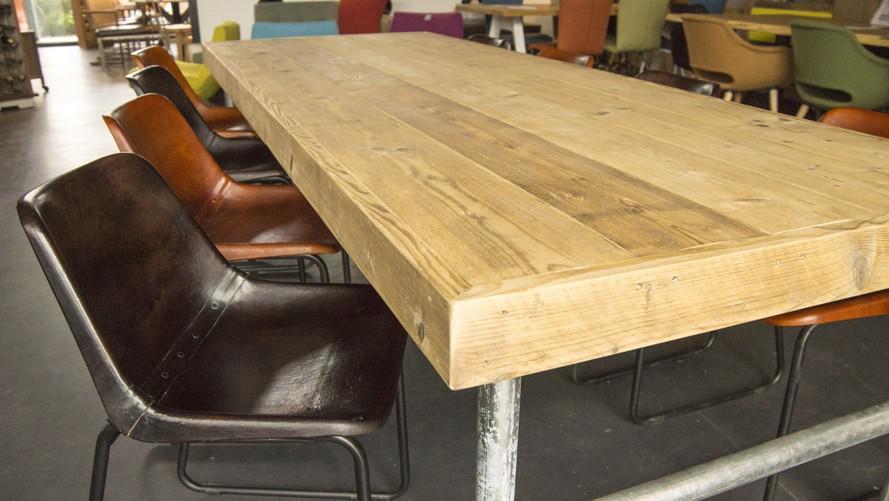 Steigerhout Steigerbuis Tafel : Van abbevé steigerhouten eettafel met steigerbuis frame inclusief 8