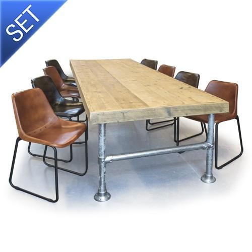 Eettafel En Eetkamerstoelen.Van Abbeve Steigerhouten Eettafel Met Steigerbuis Frame Inclusief 8