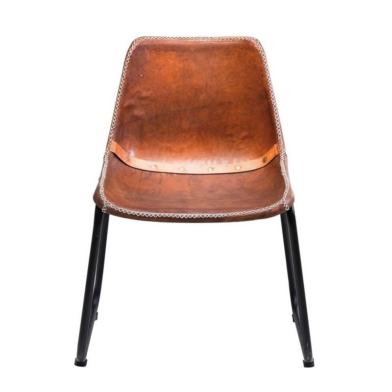 Kare design vintage leren stoel bruin for Leren stoel