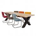 Industriële Eettafel Met Kruispoot + 8 Retro Rib Stoelen Set