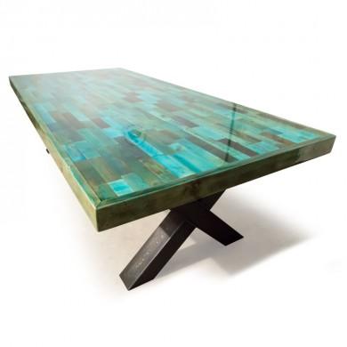 Van Abbevé Liquid Gloss® Epoxy tafel met sloophouten blad en stalenbalken X-frame