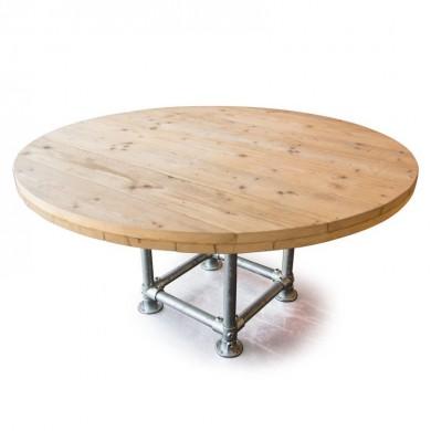 Industriële ronde steigerhouten tafel