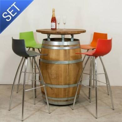 Van Abbevé Tuinset Wijnvaten Statafel met Design Krukken