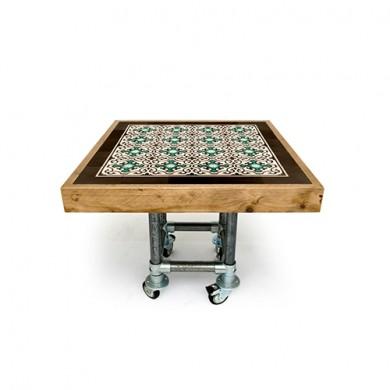 Op maat gemaakte Steigerhouten Tegeltafel Vierkant