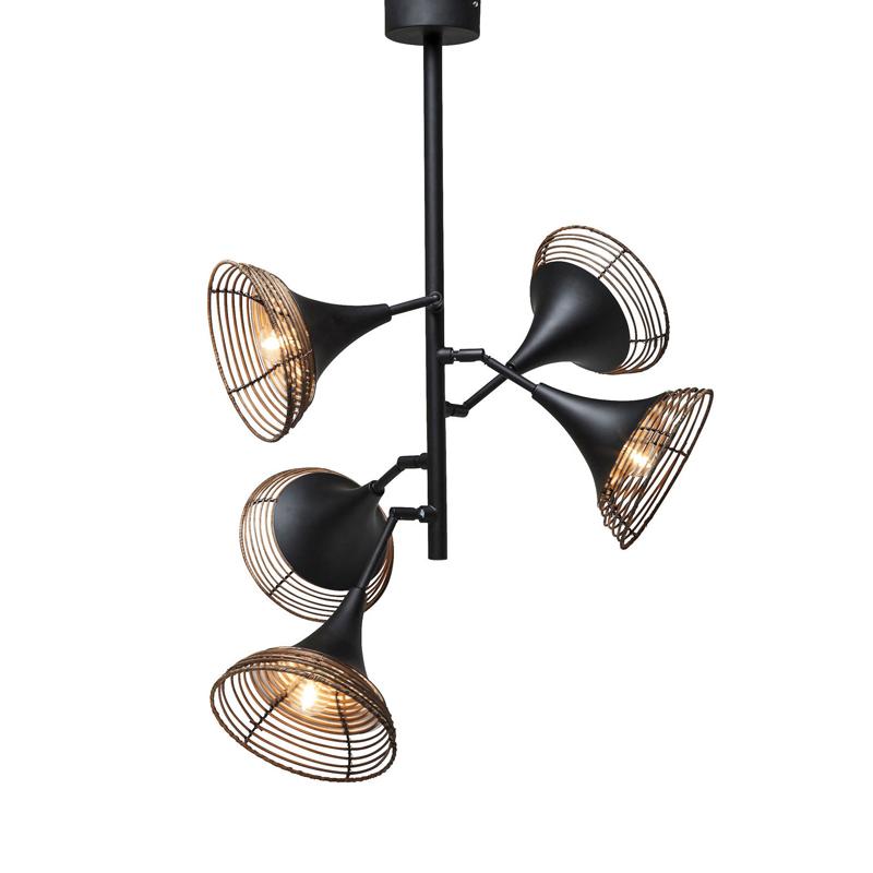Kare Design Rattan Pendant Hanglamp 5-lite